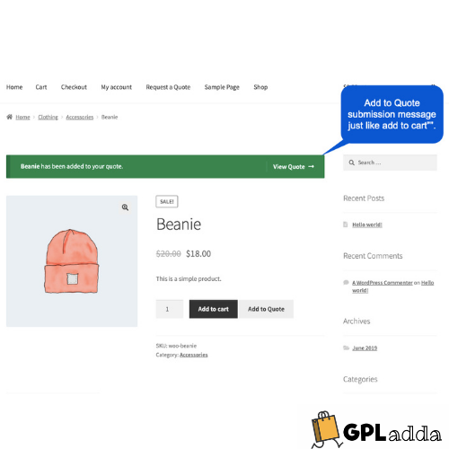 WooCommerce – Request a Quote WooCommerce Extension