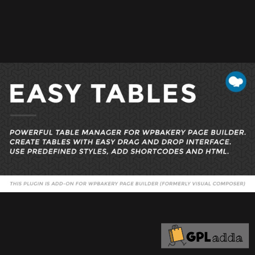 Easy Tables - Table Manager for WPBakery Page Builder